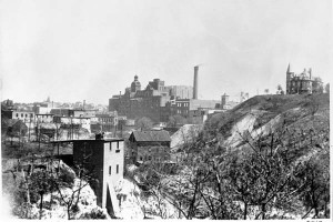 Hamm Brewery Theodore Hamm residence 671 Cable Ave. St. Paul Taken from 7th St looking up Swede Hollow. Photo courtesy MNHS.