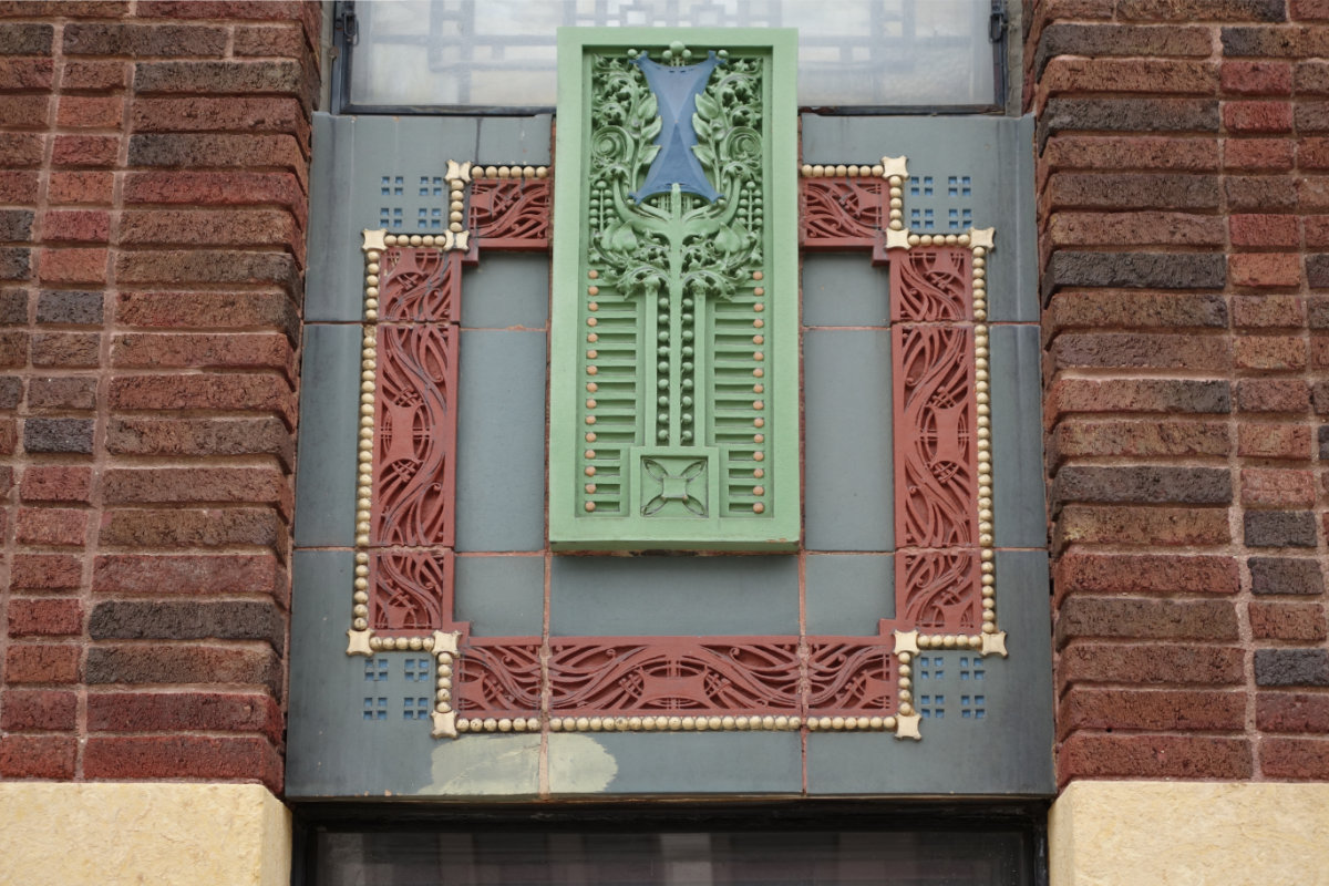 Terra cotta panel, 1st National Bank, photo courtesy Rolf Anderson